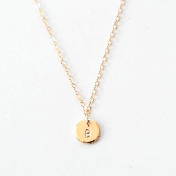 Circle Mini egyedi gravírozott nyaklánc arany